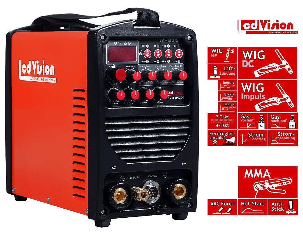 INV-160PX Pulse Inverter Schweißgerät DC WIG TIG E-Hand MMA 5-160A 230V HF 230V