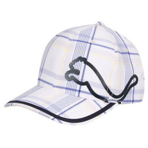 45c9f48f NEW - Puma Monoline Relaxed Fit Cap White/Blue Plaid 847744000282 | eBay