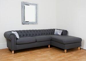 Pleasant Details About Grey Faux Leather Chesterfield Corner Sofa Chaise Pu Rh Traditional L Shaped Inzonedesignstudio Interior Chair Design Inzonedesignstudiocom