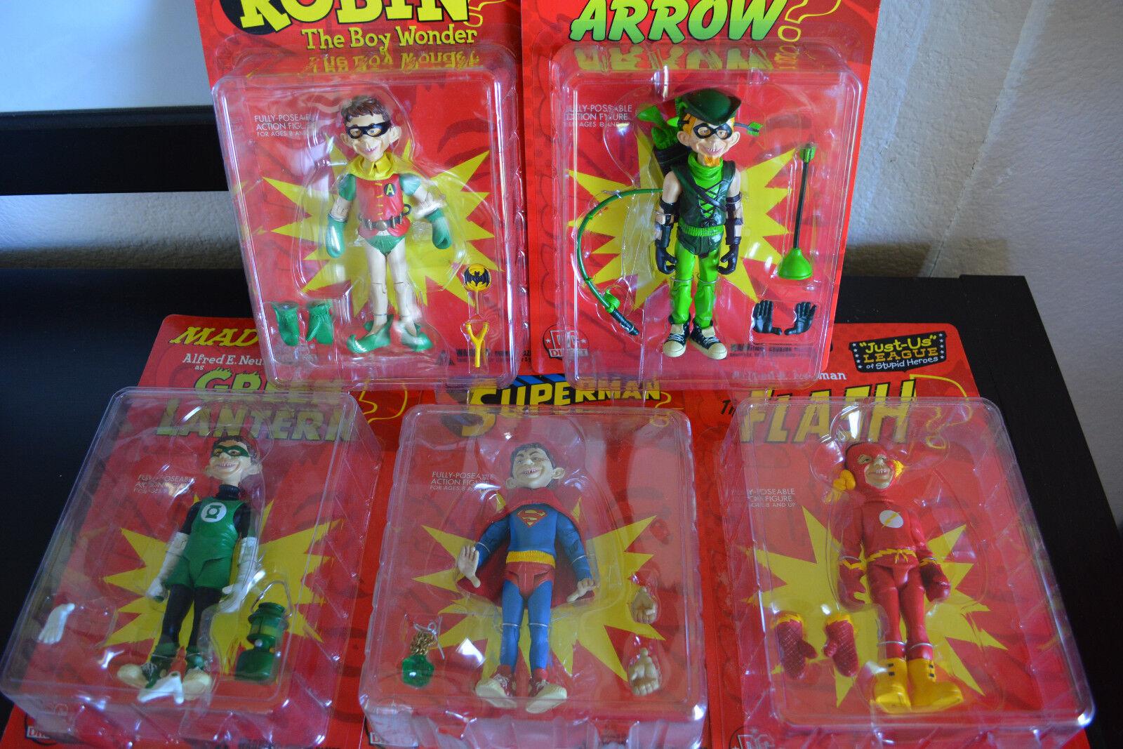 5 MAD Action Figures  The Flash, Green Lantern, Superman, Robin, Green Arrow