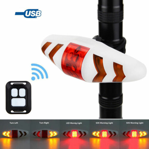 USB Rechargeable Wireless Road Bike Rear Light Remote Control Turn Red LED Light