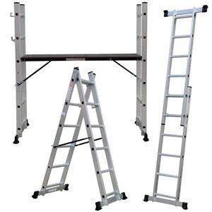 Andamio-aluminio-multiplataforma-con-dos-escaleras-de-carril-marca-Pro-Steps