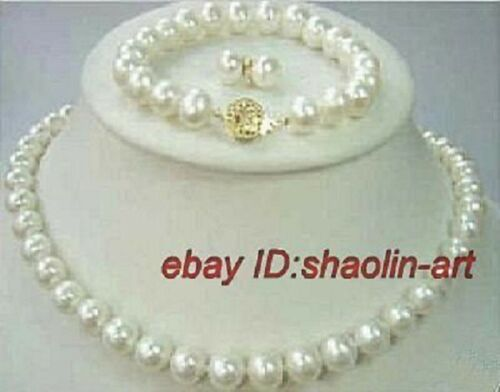 collier et boucles d/'oreilles et bracelet 43cm-17cm Charmant,blanc perle