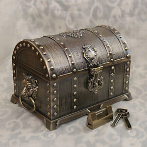 Size L Bronze Color Treasure Chest Vintage Pirates Of The
