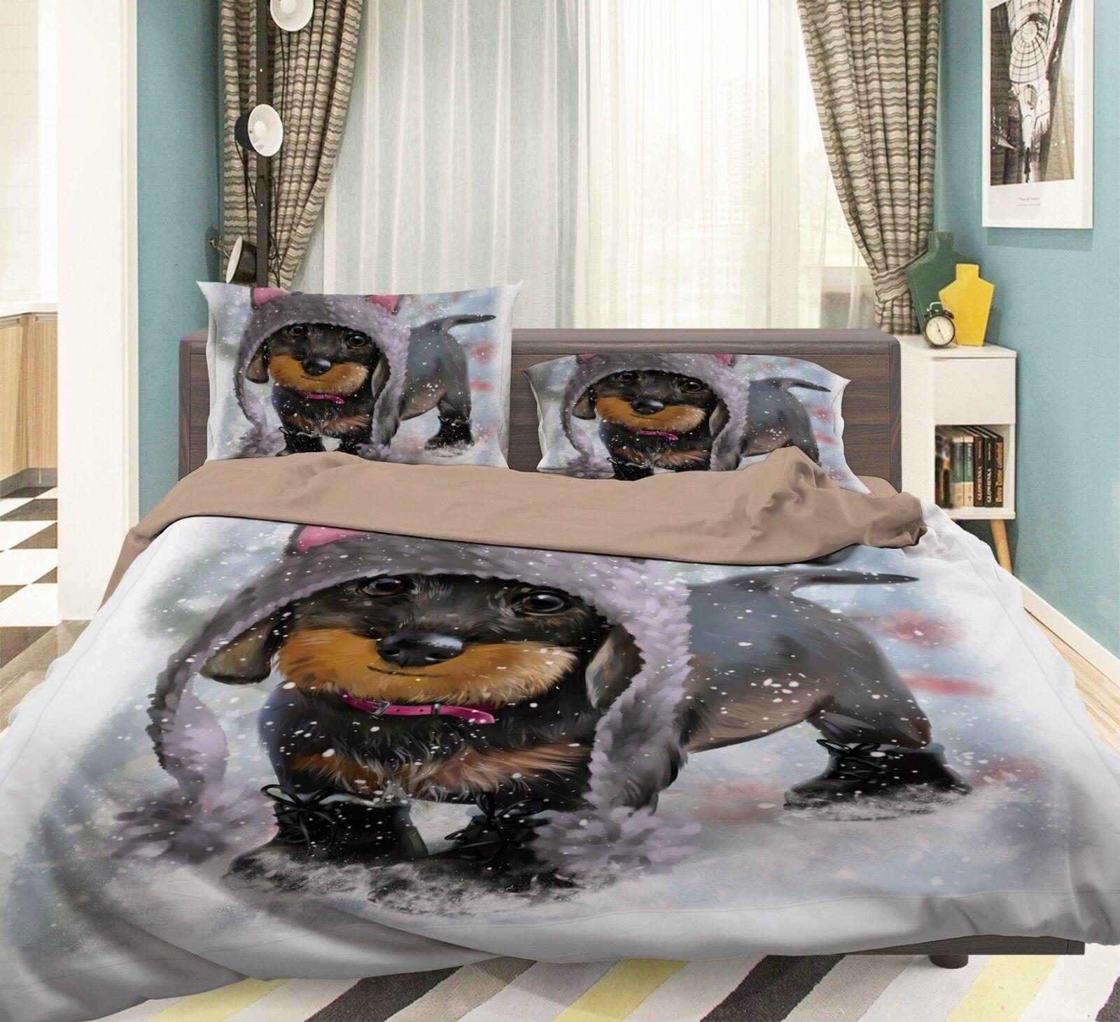 3D Snow Dog Kid 597 Bed Pillowcases Quilt Duvet Cover Set Single King UK Summer