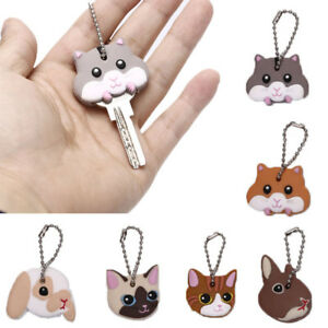 Silicone-Key-Ring-Cap-Head-Cover-Lovely-Animals-Shape-Key-Case-Shell-Keychain-Pw