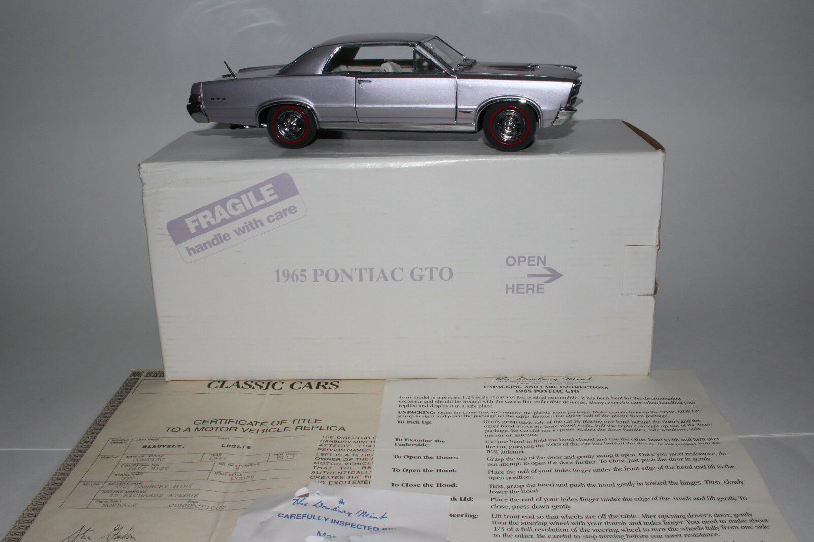 Danbury Mint 1965 Pontiac GTO 1:24 Scale Die Cast Model with Box Lot A