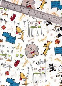 1/2 Yard Snuggle Cotton FLANNEL Multi-color Cartoon Dogs ...