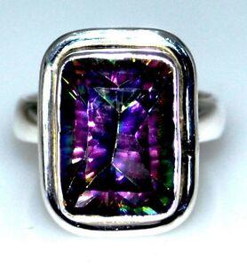 Viola-Verde-Mistica-Fuoco-Quarzo-anello-argento-Sterling-Solitario-Anelli