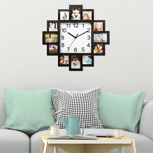 Details About 12 Pictures Wall Clock Photo Frame Art Home Decor Hanging New
