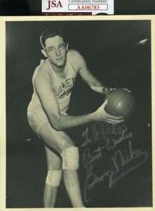George-Mikan-Jsa-Coa-Autograph-6x7-1950-s-Photo-Hand-Signed-Authentic