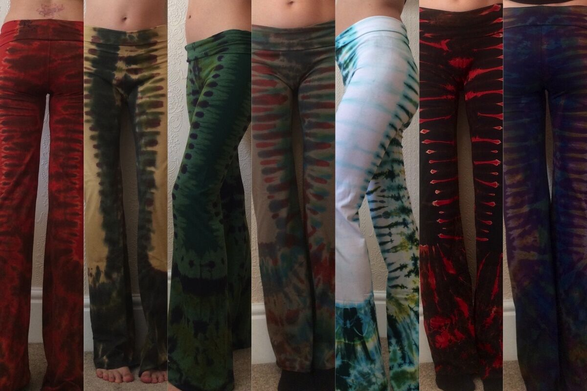 Tie dye yoga pants hippy pixie boho leggings fairtrade