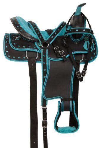 SYNTHETIC WESTERN PLEASURE TRAIL SHOW BARREL HORSE SADDLE TACK 15 16 17