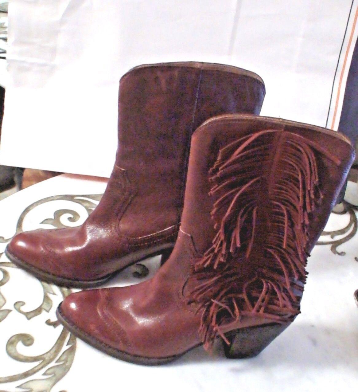 5/48 Dallas Burgundy ROT Leder Leder Leder Western Cowboy Fringe Wingtip Stiefel Schuhes 38.5 206828