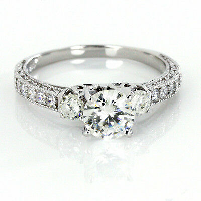 CZ Silver Engagement Ring 925 Sterling 6MM Three Round Stone w Accents