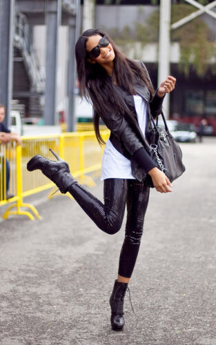 Celeb Style Black  Sequin Leggings Pants Party Evening Trousers Sizes UK 6-14