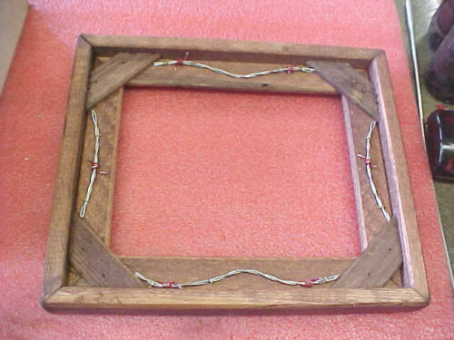 """BS6 Custom made wood wooden picture frame barbwire western accent 9/"""" x 7/"""""""