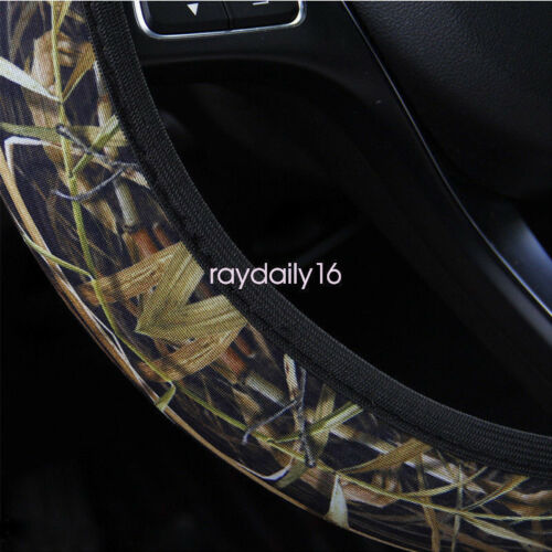 """15/"""" 38cm Stretchy Camo Grass Neoprene Car Steering Wheel Cover against cold heat"""