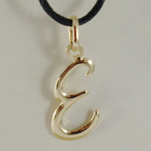 18K YELLOW GOLD PENDANT CHARM INITIAL LETTER E MADE IN ITALY 1.0 INCHES 25 MM