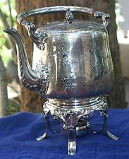 Antique solid sterling silver 925 hot water kettle, stand & burner, late 1940s