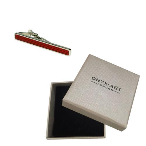 Plata Roja Diseño Moda Tie Bar En Caja De Regalo Lujo
