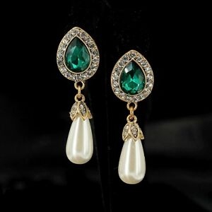 c8849dc54a5c2 Details about Earrings Nails Golden Drop Green Emerald Pearl Pear Class  Marriage YW7