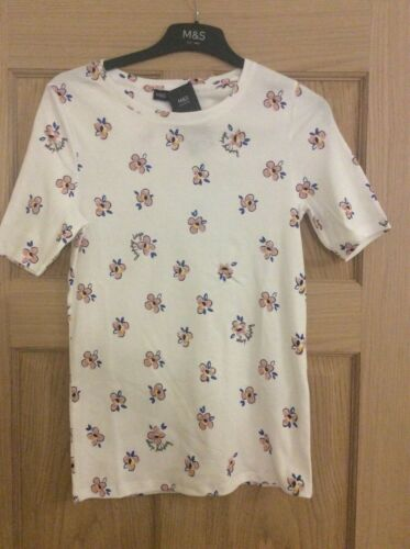 Bnwt MARKS /& SPENCER M /& S white floral 'staynew' cotton stretch t tee shirt top