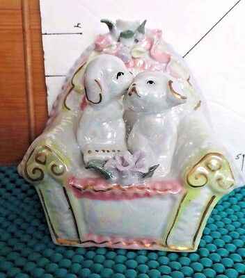 Dogs on Chair, Ceramic Figurine, Collectible, Home Decor