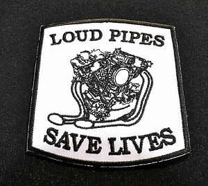 Patch-Loud-Pipes-Save-Lives-Old-School-Shovel-Motor-Vintage-Aufnaeher-Iron-On