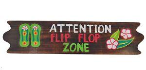 Détails sur Tiki Panneau Flip Flop Zone 100cm Panneau en Bois Maui Hawaii  Style Flip Flops