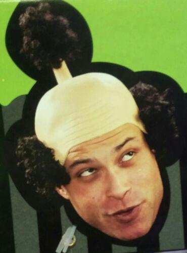 Sensei Wig Latex Bald Cap with Curly Black Hair Funny Costume Headpiece