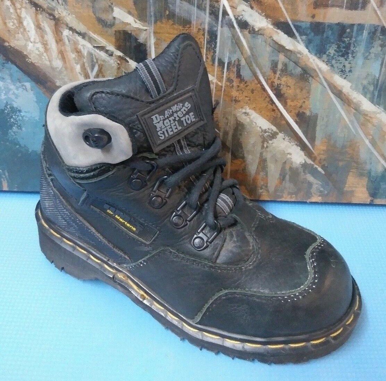 DR. MARTENS MEN 'S 8877 STEEL TOE BOOTS BLACK LEATHER UK5/USM6/USL7
