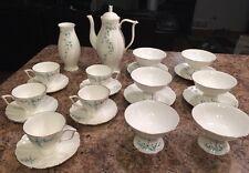 Wow! Aqua Blue Gold Floral Hand Painted 23 Pc Jiesia Tea Brunch China Set Dishes