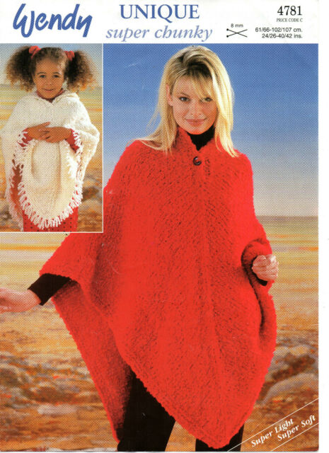 Vintage Knitting Pattern Wendy 4781 Ladys Super Chunky Poncho