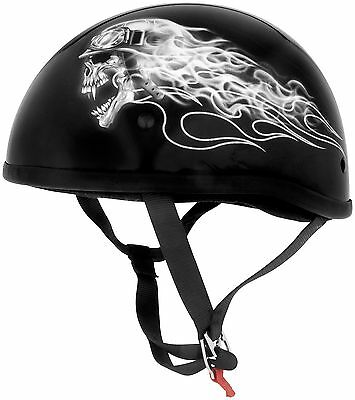 SKID LID ORIGINAL BIKER SKULL HELMET LOW PROFILE HALF SHELL MOTORCYCLE ALL SIZES