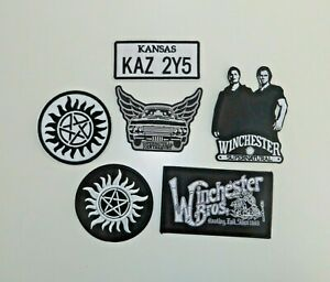 SUPERNATURAL TV SERIES ULTIMATE PATCH SET OF (6) PREMIUM QUALITY EMBR, PATCHES