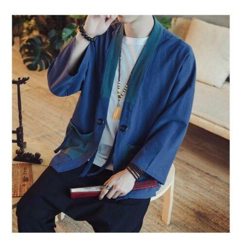 Herren Japanisch Leinen KIMONO MANTEL LOCKER Vintage Jacke Oberteile HAORI