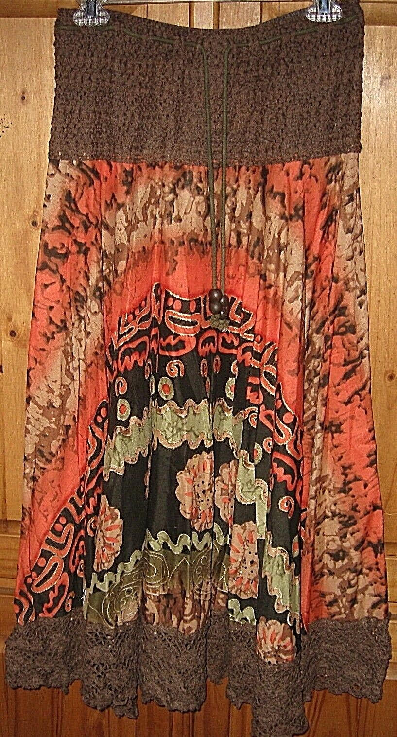 KAKTUS Women's skirt Peastant Full Crochet Brown orange gold Print Small New