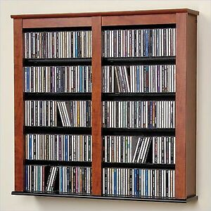 Media Cherry W/ Black Double Floating Wall Storage Rack CD DVD PP CFW0349