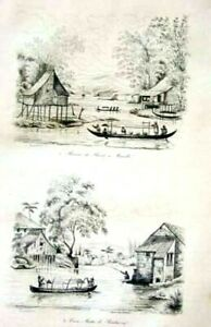 PHILIPPINES-MANILA-PASIG-RIVER-BOATS-HOUSES-Original-1834-Antique-Print