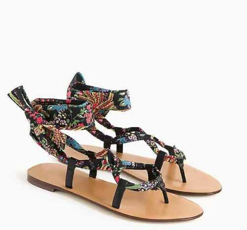 NEW WOMEN/'S  J CREW WRAP AROUND LACE-UP SANDALS IN BLACK MULTI PAISLEY