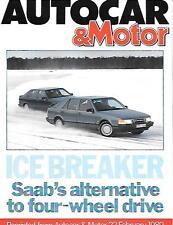 AUTOCAR & MOTOR SAAB 9000 TURBO ROAD TEST REPRINT FEB.1989 ' BROCHURE'connected