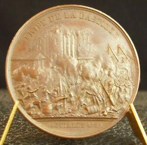 Fringant Médaille Prise De La Bastille 1789 Donjon De Vincennes Par Rogat 1844 Medal 铜牌