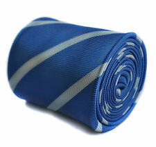 Frederick Thomas Royal Blue Club Striped Design Handmade Mens Wedding Tie FT1615