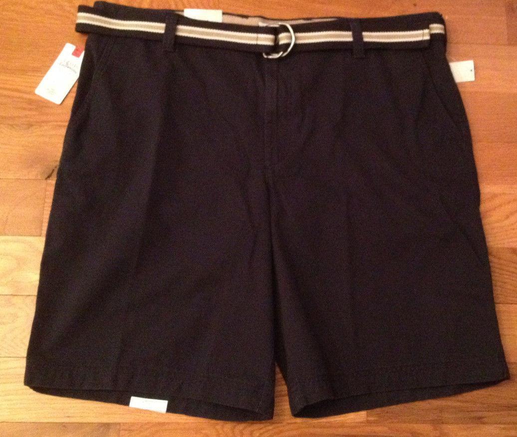 NWT  IZOD Saltwater Midnight Navy bluee Shorts w  Belt Mens 42