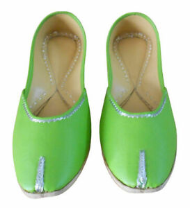 Women-Shoes-Indian-Handmade-Green-Leather-Ballet-Flats-Jutties-UK-3-5-EU-36