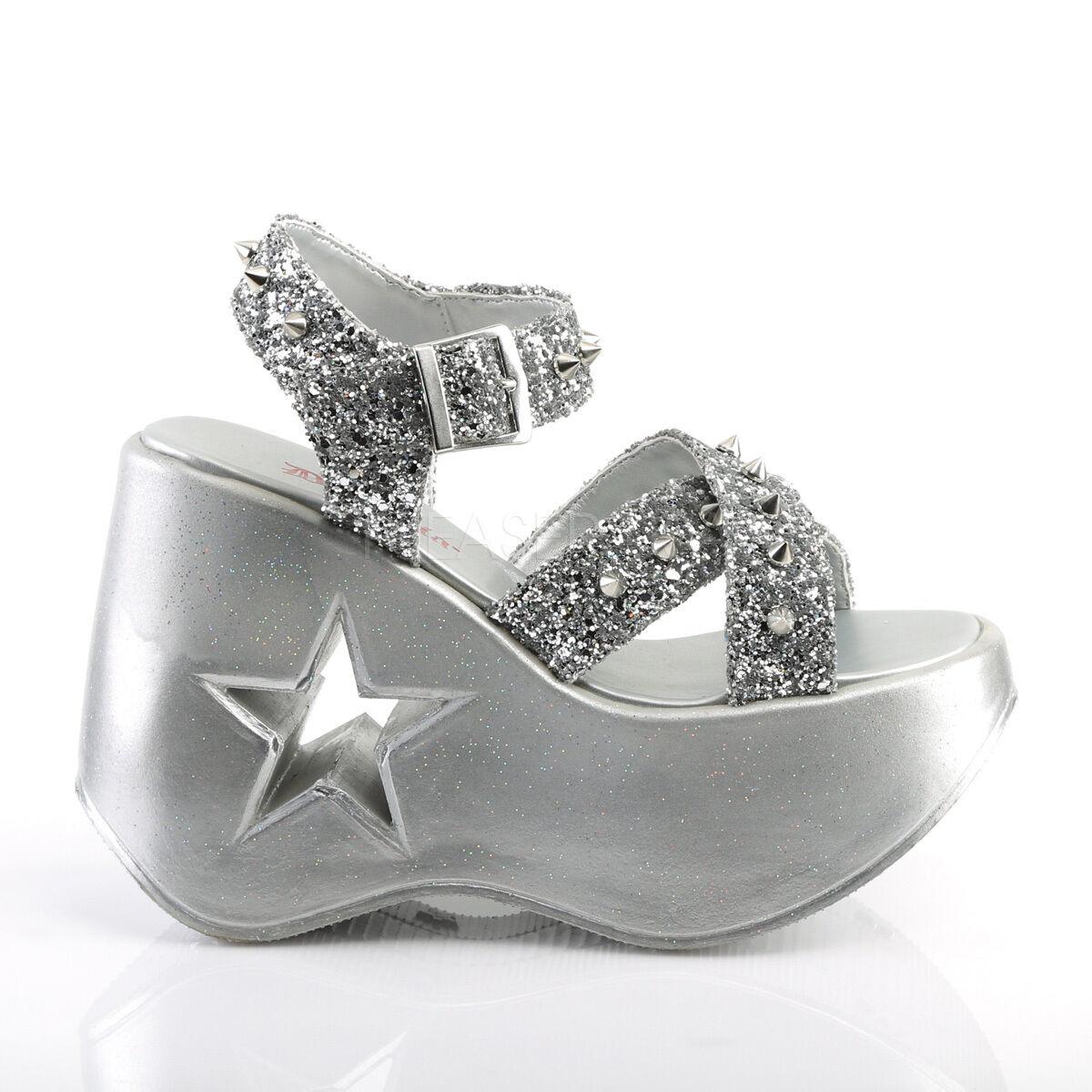 DEMONIA Gothic Lolita Star Cutout Cutout Cutout Platform Silver Wedge Sandals w  Cone Spikes 9b3ecf