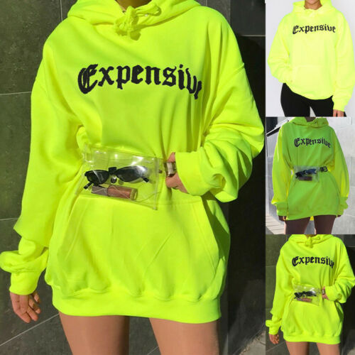 Women Fashion Letter Print Pocket Hoodie Oversize Loose Tops Blouse Sweatshirt