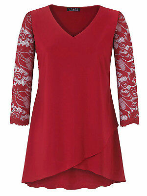Ladies Red Lace Sleeve Tunic Top by Grace  3//4 Sleeves size UK 12 rrp£42.00 New
