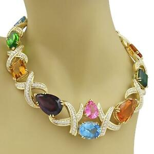 Estate-258ct-Diamond-Multicolor-Gems-18k-Yellow-Gold-X-Link-Collar-Necklace
